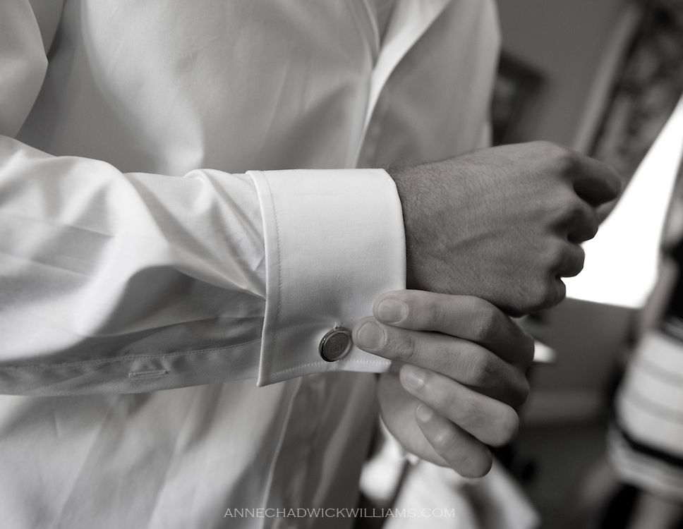 The grooms gets dressed for his wedding at the Berkeley City Club.