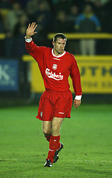 SOUTHPORT, ENGLAND - Tuesday, January 13, 2004: Liverpool's Jamie Carragher makes his return from injury against Everton during the 'mini-Derby' Premier League reserve match at Haige Avenue. (Pic by David Rawcliffe/Propaganda)
