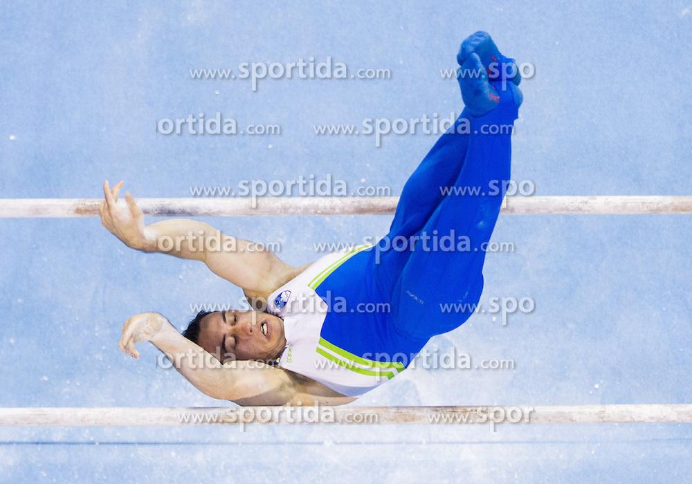 Alen Dimic of Slovenia competes in the Parallel Bars during Final day 2 of Artistic Gymnastics World Cup Ljubljana, on April 27, 2013, in Hala Tivoli, Ljubljana, Slovenia. (Photo By Vid Ponikvar / Sportida.com)