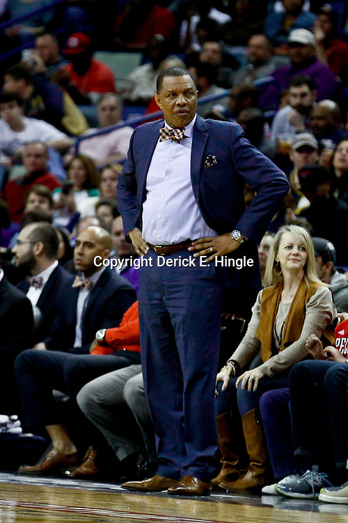 Jan 29, 2017; New Orleans, LA, USA; New Orleans Pelicans head coach Alvin Gentry against the Washington Wizards during the first quarter of a game at the Smoothie King Center. Mandatory Credit: Derick E. Hingle-USA TODAY Sports