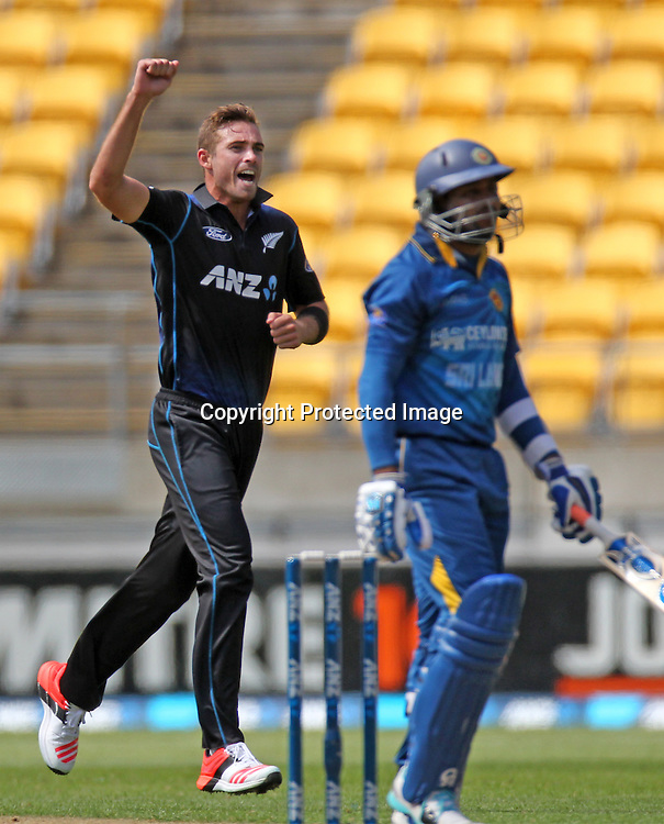 Tim Southee celebrates the wicket of T M Dilshan. ANZ One Day International Cricket Series. Match 7 between the New Zealand Black Caps and Sri Lanka at Westpac Stadium, Wellington. 29th January 2015. Photo.: Grant Down / www.photosport.co.nz