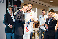 """Andres """"El Chapu"""" Nocioni and Felipe Reyes during the appearance of retirement as profesional basketball player at Stadium Santiago Bernabeu in Madrid, Spain. April 04, 2017. (ALTERPHOTOS/BorjaB.Hojas)"""