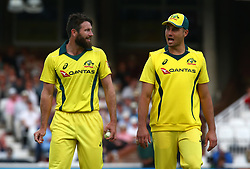 June 13, 2018 - London, England, United Kingdom - L-R Michael Neser of Australia and Marcus Stoinis of Australia.during One Day International Series match between England and Australia at Kia Oval Ground, London, England on 13 June 2018. (Credit Image: © Kieran Galvin/NurPhoto via ZUMA Press)