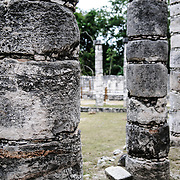 Close-up of the Plaza of the Thousand Columns at Chichen Itza Mayan ruins archeological zone in the heart of Mexico's Yucatan Peninsula.