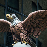 Carved American Bald Eagle in stone on top of building on Lexington Ave and 43rd Street in  New York City.<br /> <br /> The eagle is the  symbol of and for the  United States. It also represents patriotism.
