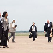 Pres. Bush and First Lady Laura Bush walk towards Air Force One flanked by Sec. of Defense Robert Gates and Sec. of State Condoleezza Rice Monday, May 21, 2007.<br /> <br /> Photo by Khue Bui