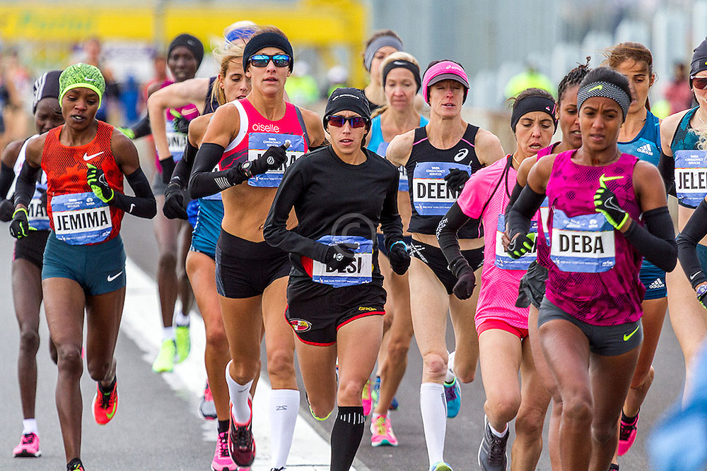 NYC Marathon, USA Olympians Kara Goucher, Desi Linden, and Deena Kastor hold the hopes of Americans this day as they fight high winds on the Verrazano-Narrows bridge