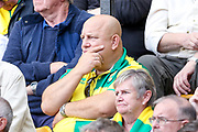 Norwich City fan thinking during the EFL Sky Bet Championship match between Norwich City and Bristol City at Carrow Road, Norwich, England on 23 September 2017. Photo by Simon Davies.