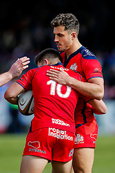 Bristol Rugby Winger Jack Wallace celebrates with Fly-Half Callum Sheedy after scoring a try to make it 10-25 - Mandatory byline: Rogan Thomson/JMP - 01/05/2016 - RUGBY UNION - Goldington Road - Bedford, England - Bedford Blues v Bristol Rugby - Greene King IPA Championship Play Off Semi Final 1st Leg.