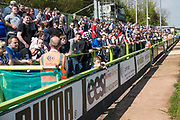 Grimsby Town away support during the EFL Sky Bet League 2 match between Forest Green Rovers and Grimsby Town FC at the New Lawn, Forest Green, United Kingdom on 5 May 2018. Picture by Shane Healey.