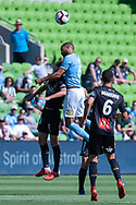 MELBOURNE, VICTORIA - JANUARY 06: Melbourne City midfielder Osama Malik (6) heads the ball at the Hyundai A-League Round 11 soccer match between Melbourne City FC and Newcastle Jets on at AAMI Park in NSW, Australia 06 January 2019. (Photo by Speed Media/Icon Sportswire)