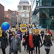 Telegraphy : http://www.telegraph.co.uk/women/life/i-was-bullied-for-being-a-bad-feminist/<br /> <br /> Songwriter Annie Lennox and American music group Sister Sledge are pictured at the Walk In Her Shoes Care International event on the 6th Feb 2016 in London, UK. Photo by See Li at Picture Capital © 2016