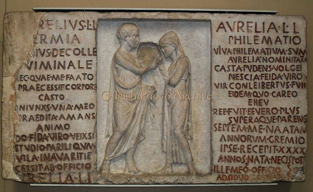 Inscribed funerary relief of Aurelius Hermia and his wife Aurelia Philematum.  Roman, about 80 BC.  From a tomb by the via Nomentana, Rome