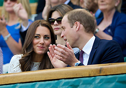 LONDON, ENGLAND - Wednesday, July 2, 2014: Catherine Middleton and William Windsor (Duke and Dutchess of Cambridge) during the Ladies' Singles Quarter-Final match on day nine of the Wimbledon Lawn Tennis Championships at the All England Lawn Tennis and Croquet Club. (Pic by David Rawcliffe/Propaganda)