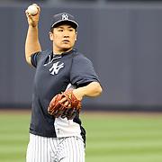 Masahiro Tanaka, New York Yankees, during pre game practice before the New York Yankees V New York Mets, Subway Series game at Yankee Stadium, The Bronx, New York. 12th May 2014. Photo Tim Clayton