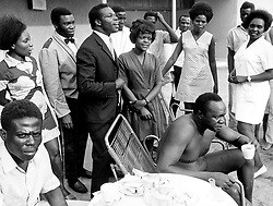 Sep 25, 1972; Kampala, Uganda; The former dictatorial leader of Uganda from 1971-1979, IDI AMIN DADA, has been called 'One of the most batshit loco leaders ever to seize control of a chaotic African nation.' Amin rounded up the military leaders that did not support his coup, murdered them, decapitated them and sat their disembodied heads around the presidential dining table, scolding them for not supporting him, and taking bites of their flesh.' The picture shows the General Idi Amin seated and the admiring attention of a bevy of Uganda beauties. (Credit Image: © Keystone Press Agency/Keystone USA via ZUMAPRESS.com)