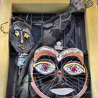 Bicycle Tire, Tennis Racket and Rake Art in San Remo, Italy<br />