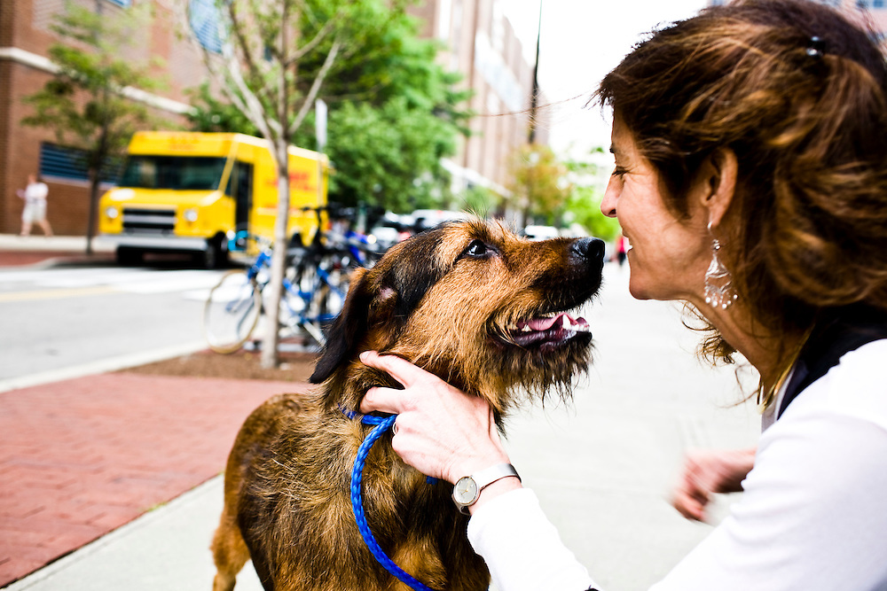 Dr. Jean Bennett and one of the gene therapy test dogs on UPenn Hospital Campus, in Philadelphia, PA on Monday, June 23, 2008.