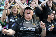 A Hull FC fan ceelbrates during the Betfred Super League match between Hull FC and Hull Kingston Rovers at Kingston Communications Stadium, Hull, United Kingdom on 19 April 2019.
