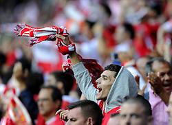 Sevilla fans before the game - Photo mandatory by-line: Joe Meredith/JMP - Mobile: 07966 386802 12/08/2014 - SPORT - FOOTBALL - Cardiff - Cardiff City Stadium - Real Madrid v Sevilla - UEFA Super Cup