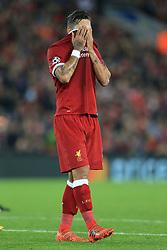 1st November 2017 - UEFA Champions League - Group E - Liverpool v NK Maribor - Roberto Firmino of Liverpool looks dejected - Photo: Simon Stacpoole / Offside.