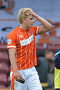 Brad Potts  during the Sky Bet League 1 match between Scunthorpe United and Blackpool at Glanford Park, Scunthorpe, England on 5 September 2015. Photo by Ian Lyall.