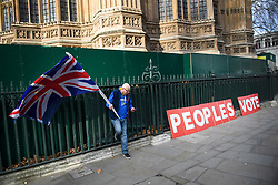 © Licensed to London News Pictures. 14/01/2019. London, UK. A Pro EU, anti Brexit campaigner outside the Houses of Parliament in London the day before MPs vote of British Prime Minister Theresa May's deal on leaving the EU. Photo credit: Ben Cawthra/LNP