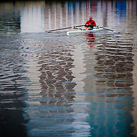 TAMPA, FL  -- Bill Williamson of Tampa rows near the Tampa Bay Rowing Club on the University of Tampa campus under the Cass Street Bridge in Tampa, Florida. (Chip Litherland for Bay Magazine)