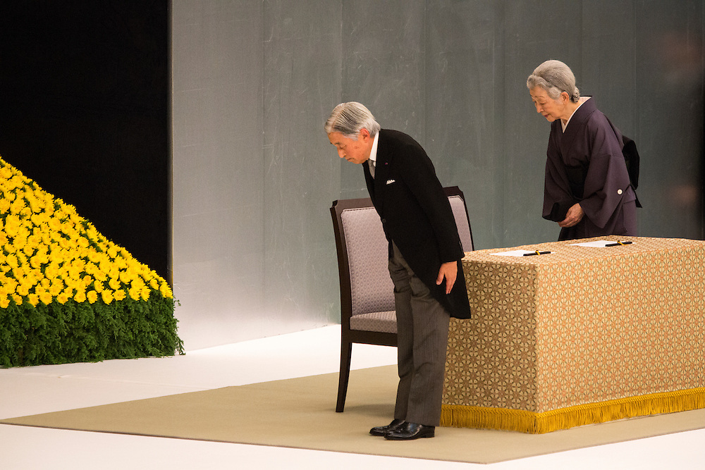 TOKYO, JAPAN - AUGUST 15 : Emperor Akihito and Empress Michiko bow to pay respects during the memorial service at the Nippon Budokan on the 71st anniversary of the Japan's war surrender on August 15, 2016 in Tokyo, Japan.  (Photo by Richard Atrero de Guzman/NURPhoto)