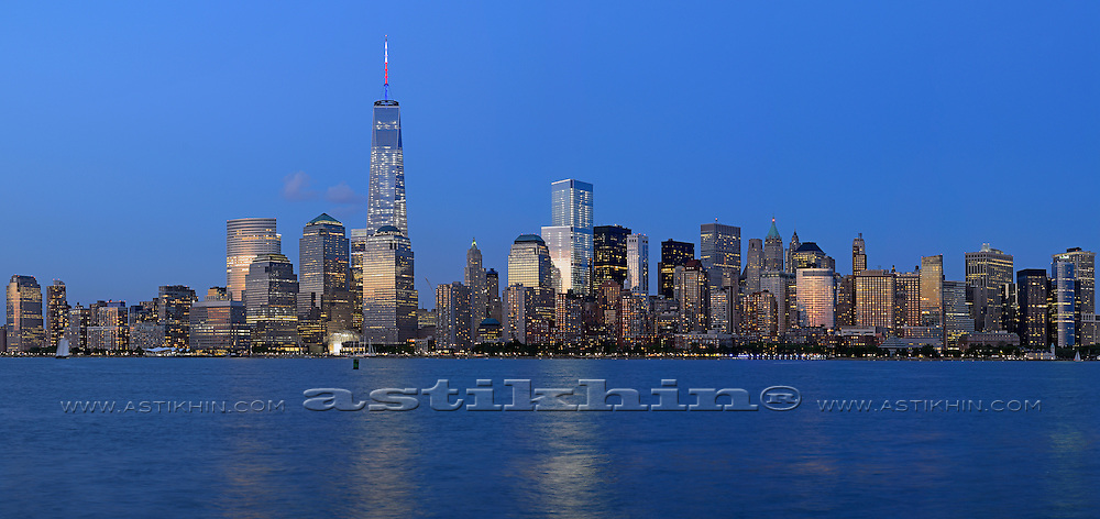 Memory of World Trade Center, Freedom Tower at night.