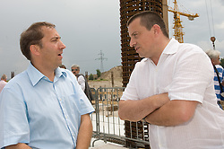 Franci Zavrl and Joc Pececnik at open door day 1 year before opening of new football stadium and sports hall in Stozice,  on June 30, 2009, at Stadium Stozice, Ljubljana, Slovenia. (Photo by Vid Ponikvar / Sportida)