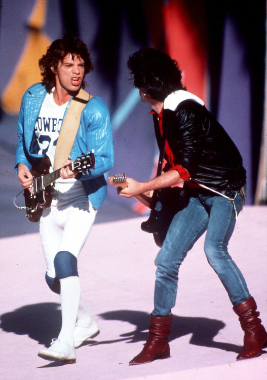 Mick Jagger and Keith Richards with the Rolling Stones at the Cotton Bowl in Dallas, Texas during their 1981 tour.