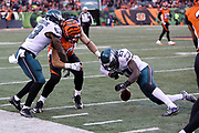 Philadelphia Eagles strong safety Malcolm Jenkins (27) closes in for a tackle attempt after Philadelphia Eagles outside linebacker Nigel Bradham (53) knocks the ball out of Cincinnati Bengals offensive tackle Jake Fisher (74) hand after Fisher catches a fourth quarter pass good for a gain of 12 yards prior to the fumble during the 2016 NFL week 13 regular season football game against the Cincinnati Bengals on Sunday, Dec. 4, 2016 in Cincinnati. The Bengals won the game 32-14. (©Paul Anthony Spinelli)