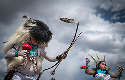 April 27, 2019 - Albuquerque, New Mexico, U.S. - Vernon Sanchez along with a group of dancers from Zuni Pueblo perform the Buffalo dance  at  the Gathering Of Nations in Albuquerque, New Mexico Saturday afternoon. (Credit Image: © Roberto E. Rosales/Albuquerque Journal via ZUMA Wire)