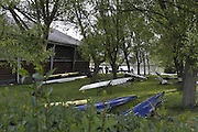 Gent, BELGIUM,  General views from Koninklijke Roeiveniging Club Gent, Boathouse and Boating area, Gent,  Boat racks in the grounds at the International Belgian Rowing Championships, Saturday 09/05/2009, [Mandatory Credit. Peter Spurrier/Intersport Images]