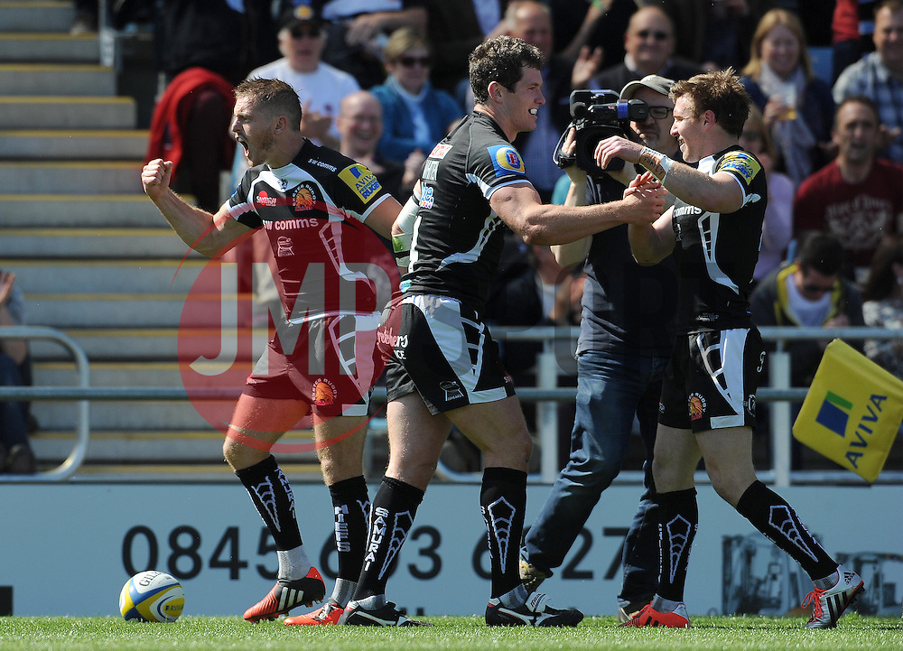 Exeter Chiefs Ian Whitten celebrates his teams try with Exeter Chiefs Gareth Steenson Photo mandatory by-line: Harry Trump/JMP - Mobile: 07966 386802 - 16/05/15 - SPORT - RUGBY - Aviva Premiership - Exeter Chiefs v Sale Sharks - Sandy Park, Exeter, England.