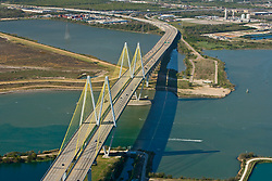 Aerial view of the Fred Hartman Bridge