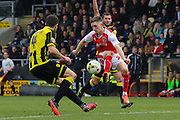 Fleetwood Town forward Ashley Hunter cushions the ball as he attacks the goal during the Sky Bet League 1 match between Burton Albion and Fleetwood Town at the Pirelli Stadium, Burton upon Trent, England on 12 March 2016. Photo by Aaron  Lupton.