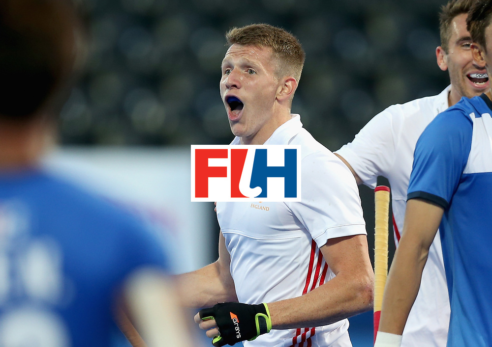 LONDON, ENGLAND - JUNE 20:  Sam Ward of England celebrates scoring his sides fourth goal during the Pool A match between England and South Korea on day six of the Hero Hockey World League Semi-Final at Lee Valley Hockey and Tennis Centre on June 20, 2017 in London, England.  (Photo by Alex Morton/Getty Images)