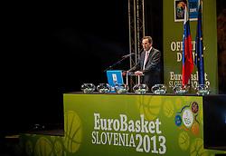 Slovenia's Minister for Education, Culture and Sport, Ziga Turk during FIBA Europe Eurobasket 2013 draw ceremony on November 18, 2012 in Postojna cave, Postojna, Slovenia. (Photo By Vid Ponikvar / Sportida)