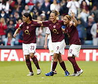 Photo: Chris Ratcliffe.<br /> Leeds United v Arsenal. Womens' FA Cup Final. 01/05/2006.<br /> Arsenal Ladies from left Mary Phillip, Lianne Sandserson and Alex Scott celebrate the easy win.
