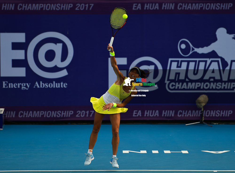 HUA HIN, THAILAND - NOVEMBER 11: Su-Wei Hsieh of (TPE) in action during her semi-finals match against Viktorija Golubic of (SUI) at WTA EA Hua Hin Championship 2017, True Arena Hua Hin, Prachuap Khiri Khan, Thailand on November 11, 2017.<br /> .<br /> .<br /> .<br /> (Photo by: Naratip Golf Srisupab/SEALs Sports Images)<br /> .<br /> Any image use must include a mandatory credit line adjacent to the content which should read: Naratip Golf Srisupab/SEALs Sports Images