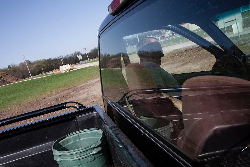 Richard Conkling gets in his truck after disposing of a load of lawn clippings on Tuesday, March 27, 2012 in Webster City, IA.