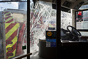 The resulting damage to a London bus's windscreen after a crash involving three buses at Elephant and Castle, on 16th October 2018, in London, England.