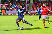 Bury's Chris Hussey crosses the ball during the Sky Bet League 1 match between Walsall and Bury at the Banks's Stadium, Walsall, England on 5 September 2015. Photo by Shane Healey.