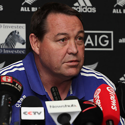 DURBAN, SOUTH AFRICA, 6 October, 2016 - Rugby Championship, Steve Hansen (Head Coach) during the New Zealand (All Blacks) MEDIA CONFERENCE  at the Garden Court uMhlanga Durban, South Africa. <br /> (Photo by Steve Haag/Getty Images)