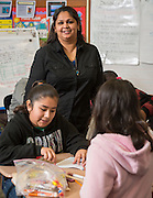 Rashmi Vashistha works with her math students at Golfcrest Elementary School, April 18, 2014.