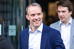 © Licensed to London News Pictures. 16/06/2019. London, UK. Dominic Raab MP after taking part in the first televised debate between Conservative Party leadership contenders. Frontrunner Boris Johnson did not take part in the Channel 4 debate. Photo credit: Rob Pinney/LNP