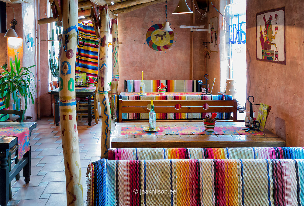 painted mexican furnitureTex Mex Mexican restaurant in Prnu Estonia Decorated striped