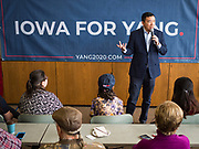 22 JANUARY 2020 - CHARLES CITY, IOWA: ANDREW YANG talks a crowd of about 45 people during a campaign event at the public library in Charles City, IA. Yang, an entrepreneur, is running for the Democratic nomination for the US Presidency in 2020. He is in northern Iowa as a part of his 17 day bus tour across the state. Iowa hosts the the first election event of the presidential election cycle. The Iowa Caucuses will be on Feb. 3, 2020.        PHOTO BY JACK KURTZ